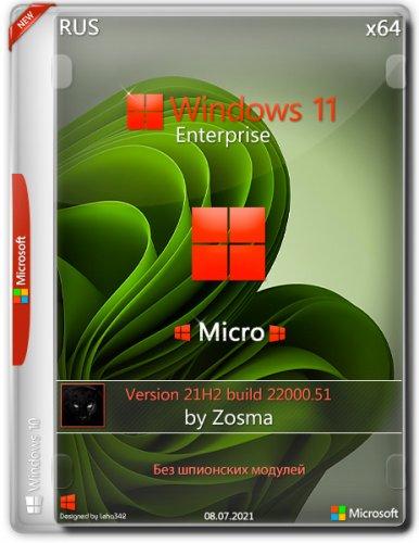 """Windows 11 Enterprise """"micro"""" 21H2 build 22000.51 by Zosma (x64)"""